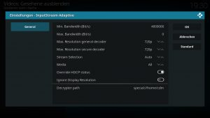 Amazon VOD Addon 04 Inpustream Einstellungen vornehmen