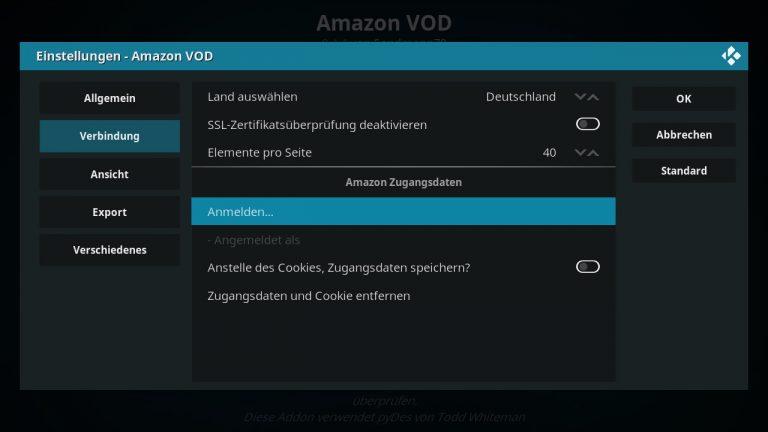 Amazon VOD Addon Anmelden bei Amazon Prime