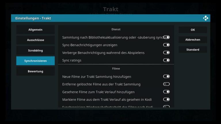 Kodi Addon Trakt.TV Einstellungen