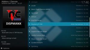 Kodi Addons installieren – Raspberry Pi VNC auswählen