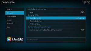 Kodi Einstellungen LibreELEC 04 – Zeitserver pool.ntp.org