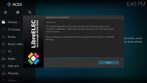 LibreELEC Einrichtungs-Assistent Wizard Welcome