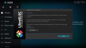 LibreELEC Einrichtungs-Assistent-Wizard Hostname