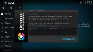 LibreELEC Einrichtungs-Assistent-Wizard Network