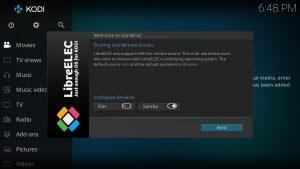 LibreELEC Einrichtungs-Assistent-Wizard SSH Samba