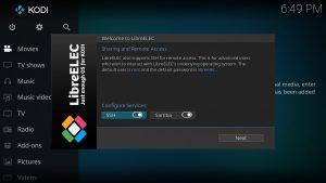 LibreELEC Einrichtungs-Assistent-Wizard SSH enabled
