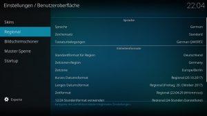 LibreELEC Spracheinstellungen German