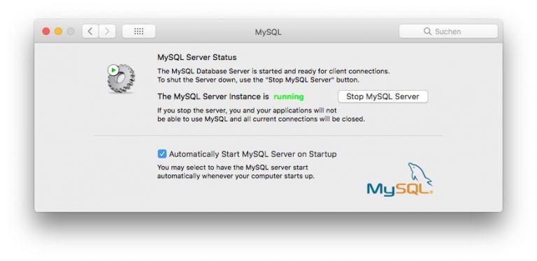 MySQL Systemeinstellungen Starten