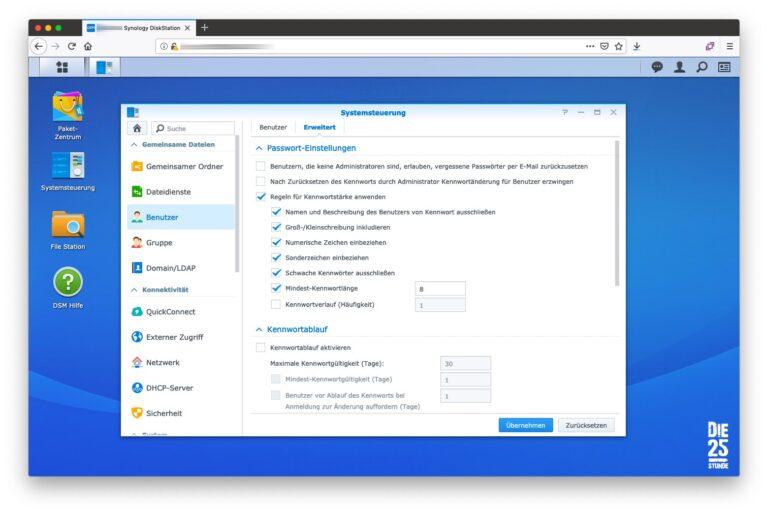 Benutzer Passwort-Einstellungen angepasst
