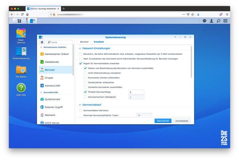 Benutzer Passwort-Einstellungen Standard