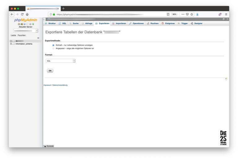 phpMyAdmin Datenbank exportieren - Einstellungen