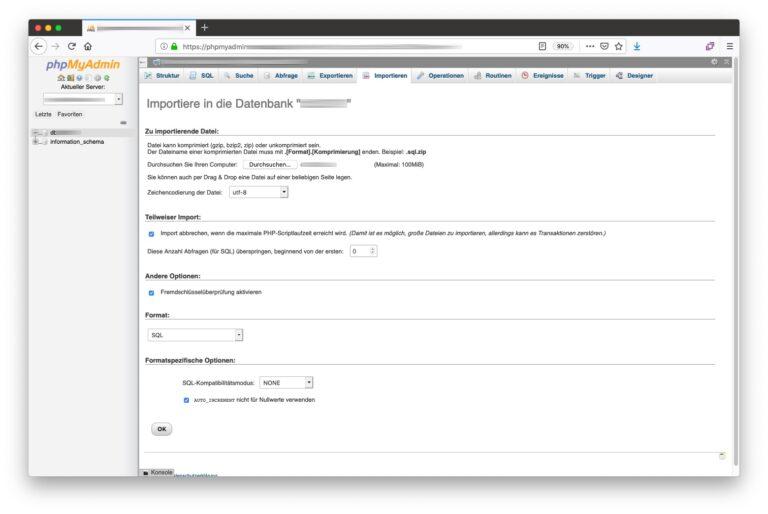 phpMyAdmin Datenbank importieren - Einstellungen