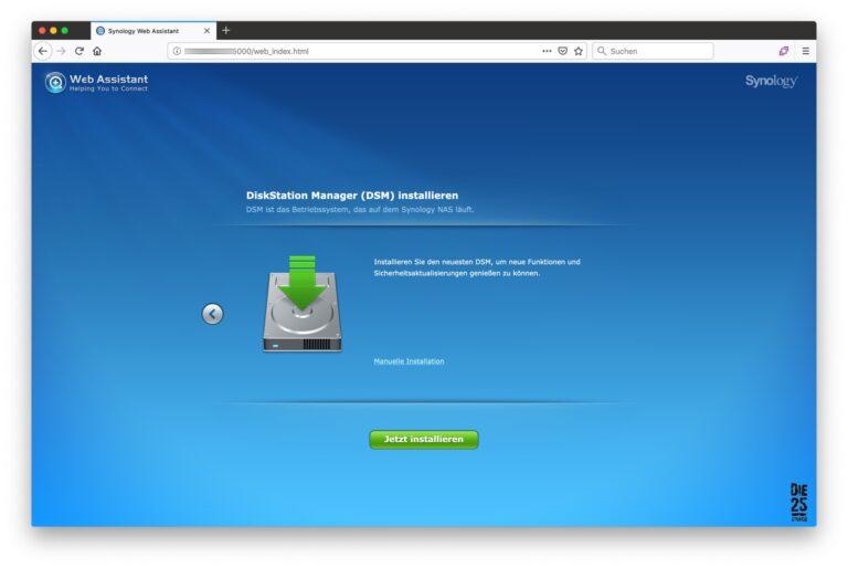 Synology Web-Assistant - 02 - Diskstation-Manager (DSM) installieren