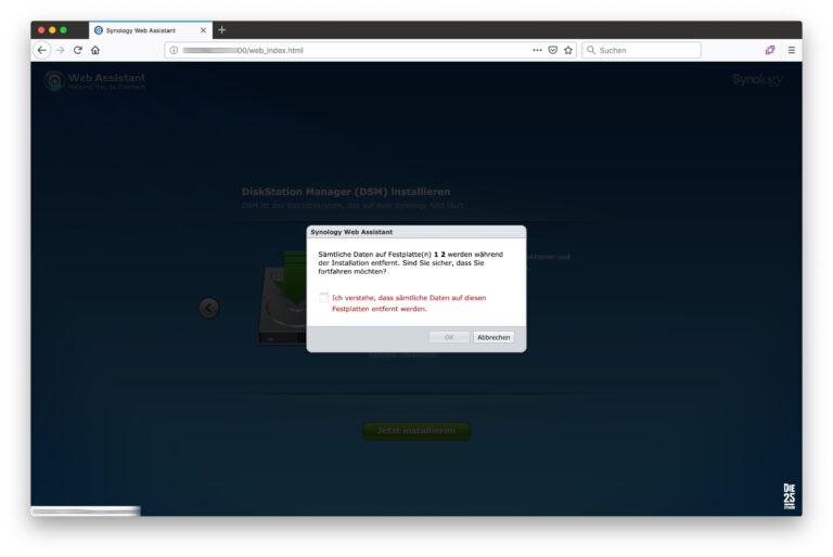Synology Web-Assistant - 03 - Warnung Daten Festplatten