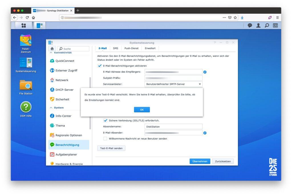 E-Mail Benachrichtigungsdienst Test-E-Mail