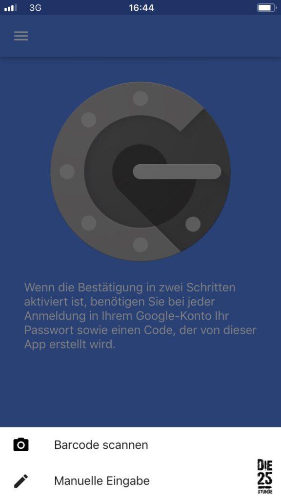 Google Authenticator QR-Code scannen