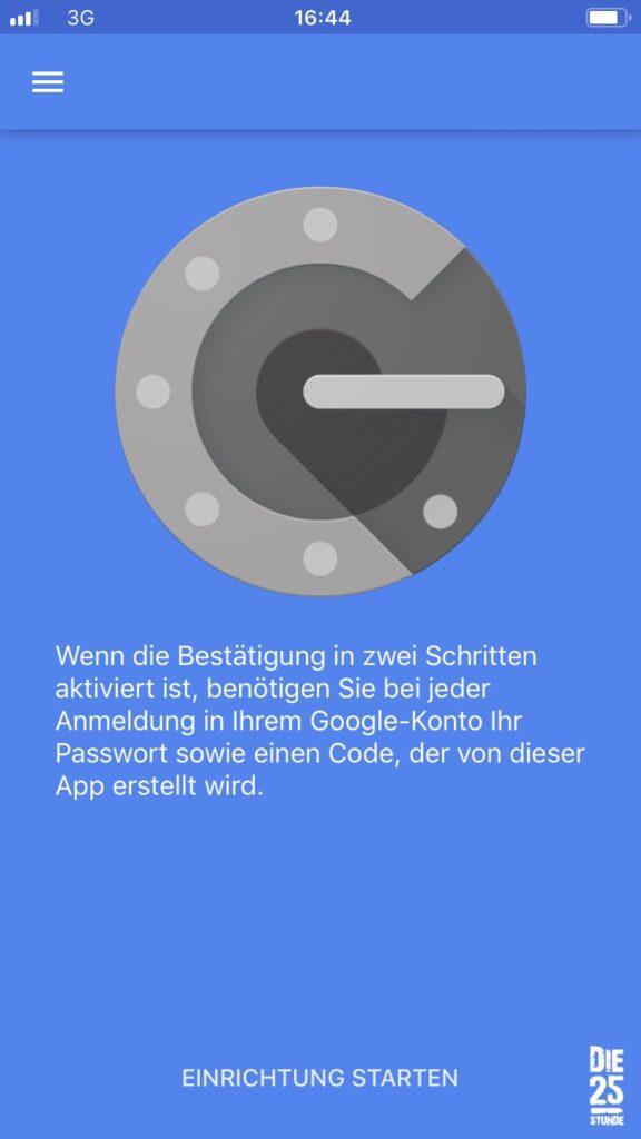 Google Authenticator Einrichtung