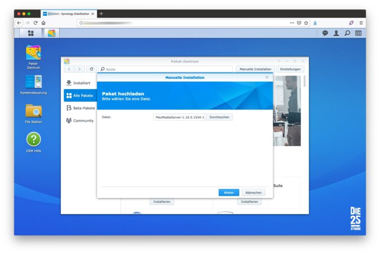DiskStation Paketzentrum Datei auswaehlen