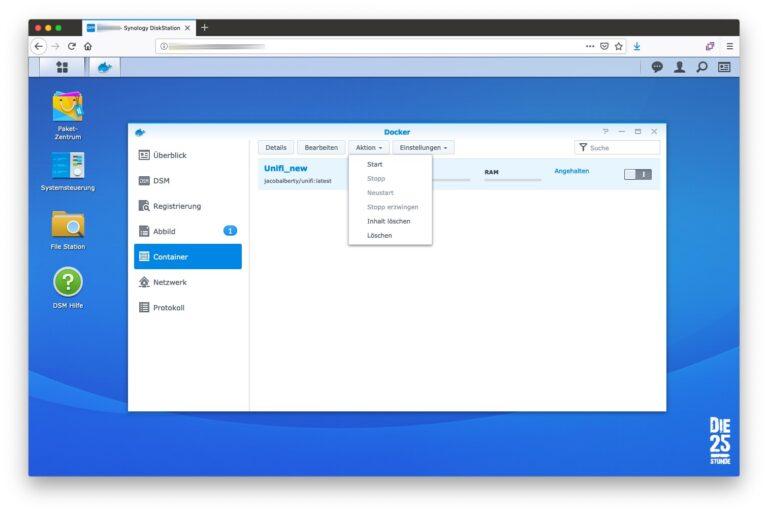Docker Unifi Container Inhalt loeschen