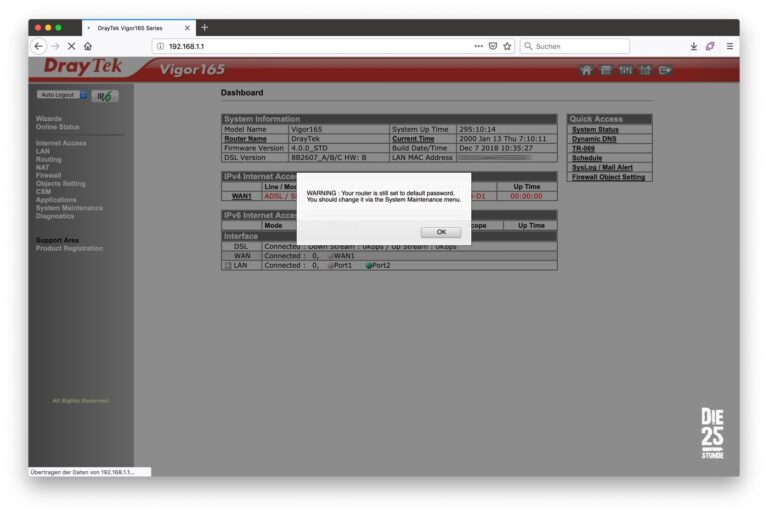DrayTek - Hinweis Standard Passwort aendern