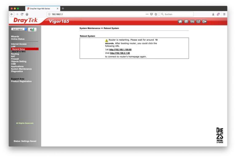 DrayTek - neue IP Adresse nach Reboot