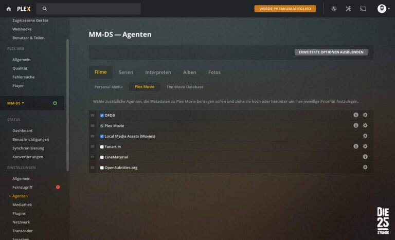 PLEX Einstellungen Agenten Filme Plex Movie