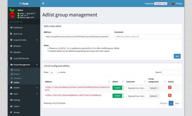 Pi-hole - Group Management Adlists