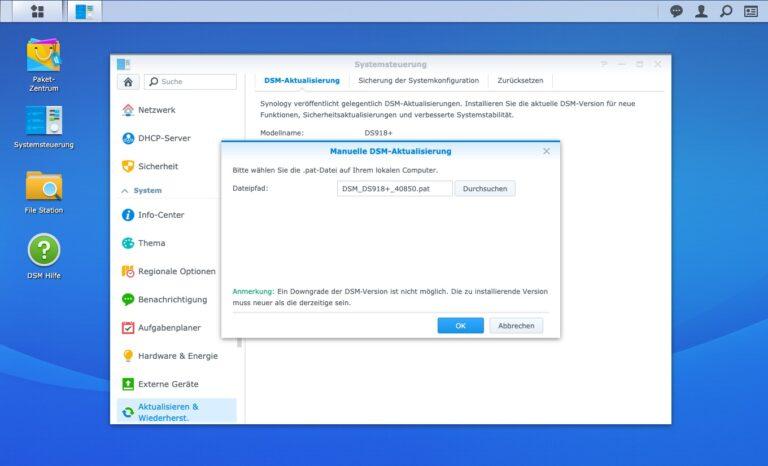 Upgrade - Manuelle DSM Aktualisierung