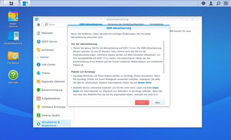 Upgrade - Manuelle DSM Aktualisierung Hinweis Zustimmung