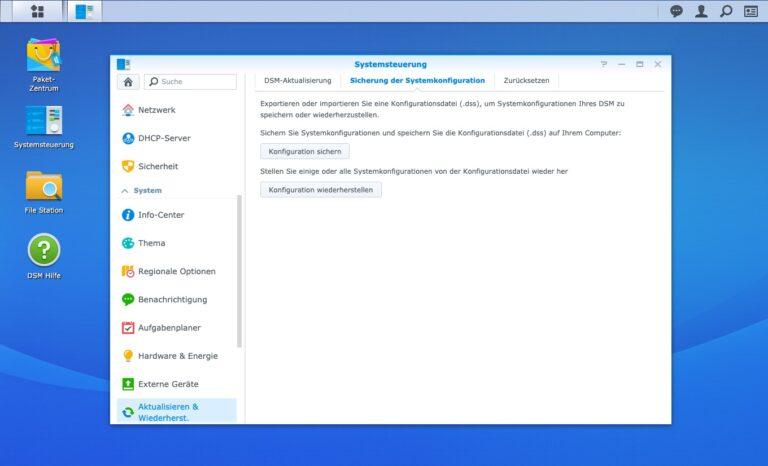 Upgrade - Sicherung Systemkonfiguration