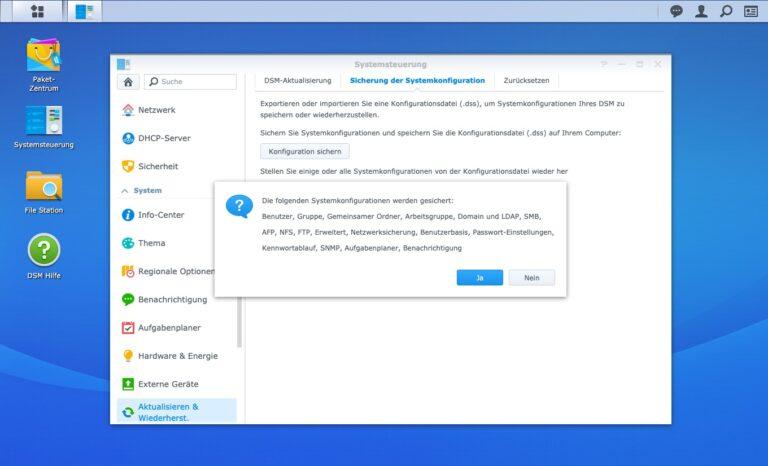 Upgrade - Sicherung Systemkonfiguration Details
