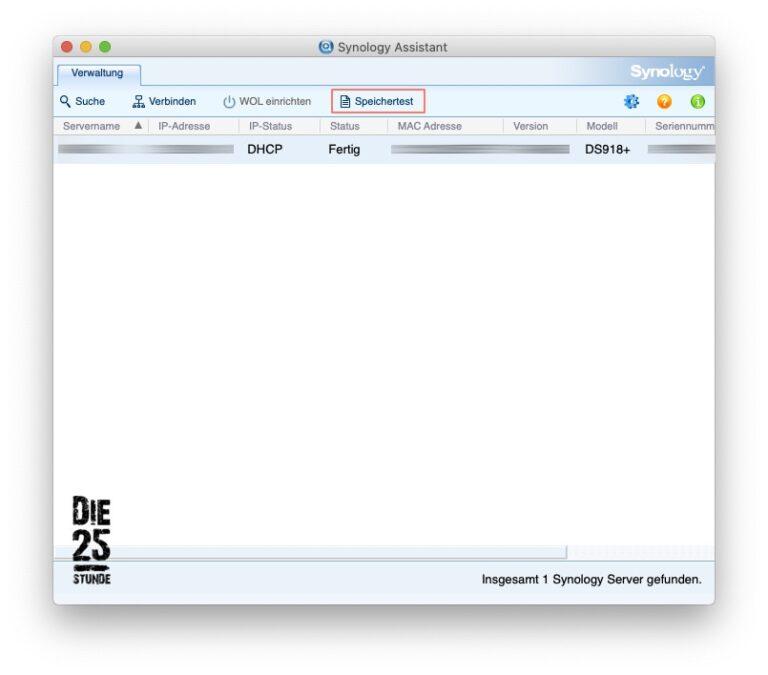 Synology Assistent - 03 - Speichertest eingeblendet