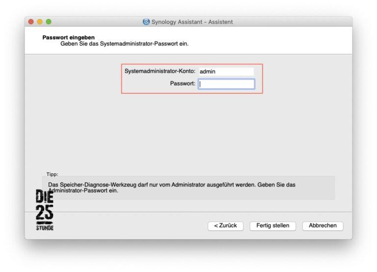 Synology Assistent - 05 - Admin Passwort eingeben