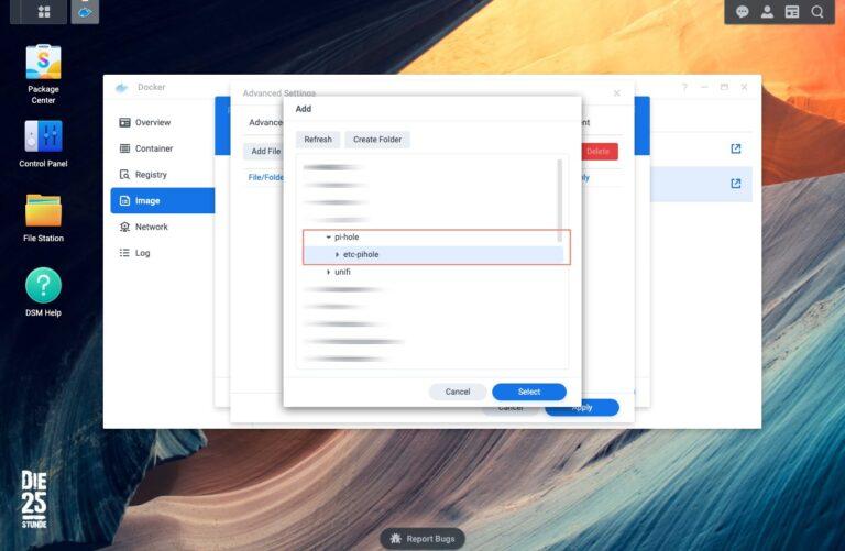 Pi-hole - Volume - create Folder pi-hole